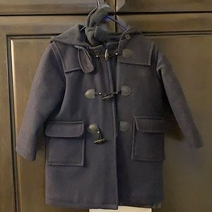 Boy's wool blend pea coat with hood and scarf EUC.  Can be unisex as well.